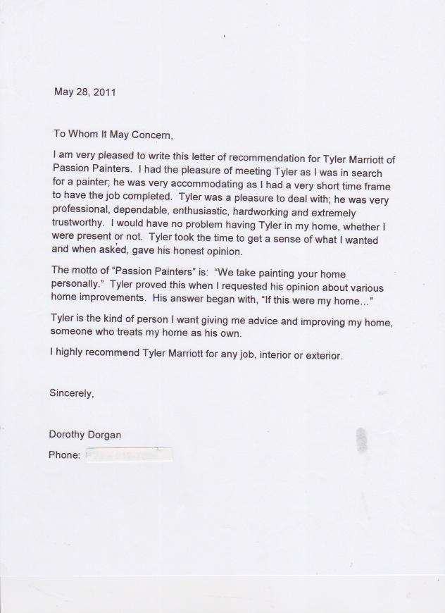 Reference letters for passion painters professional interior reference letter from dorothy dorgan expocarfo Choice Image