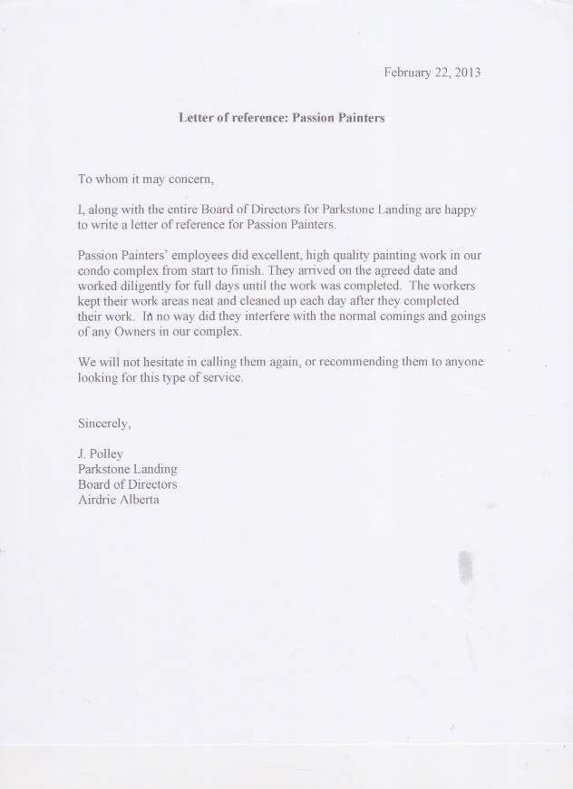 reference letters for passion painters  professional interior residential house painters